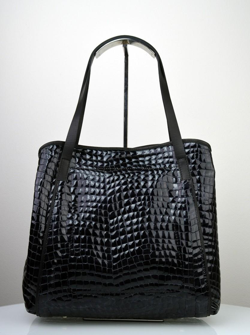 Dámská kožená kabelka FACEBAG MONA - Černá kroko lak