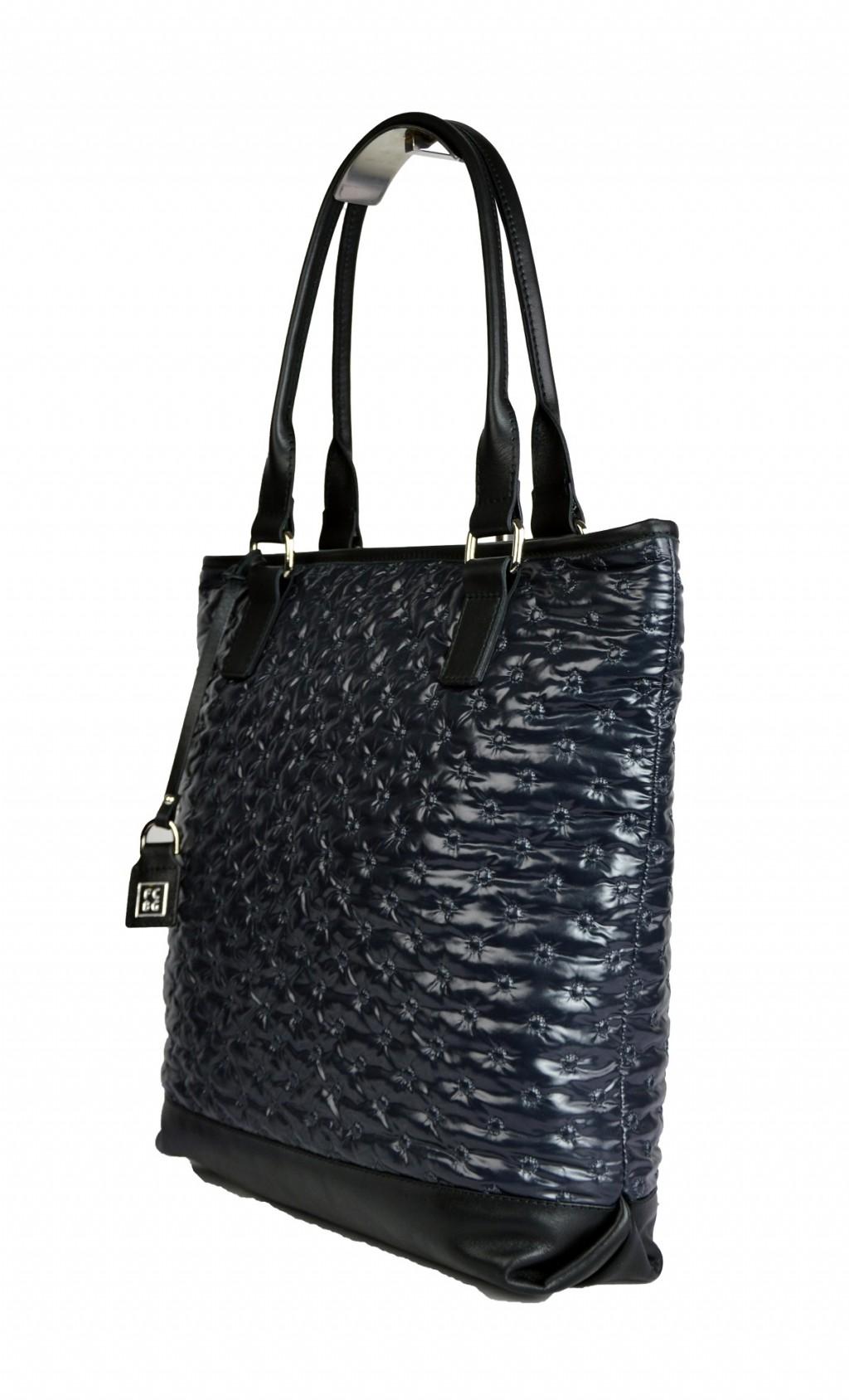 Dámská látková kabelka FACEBAG JANA - Černá lesk látka + kůže