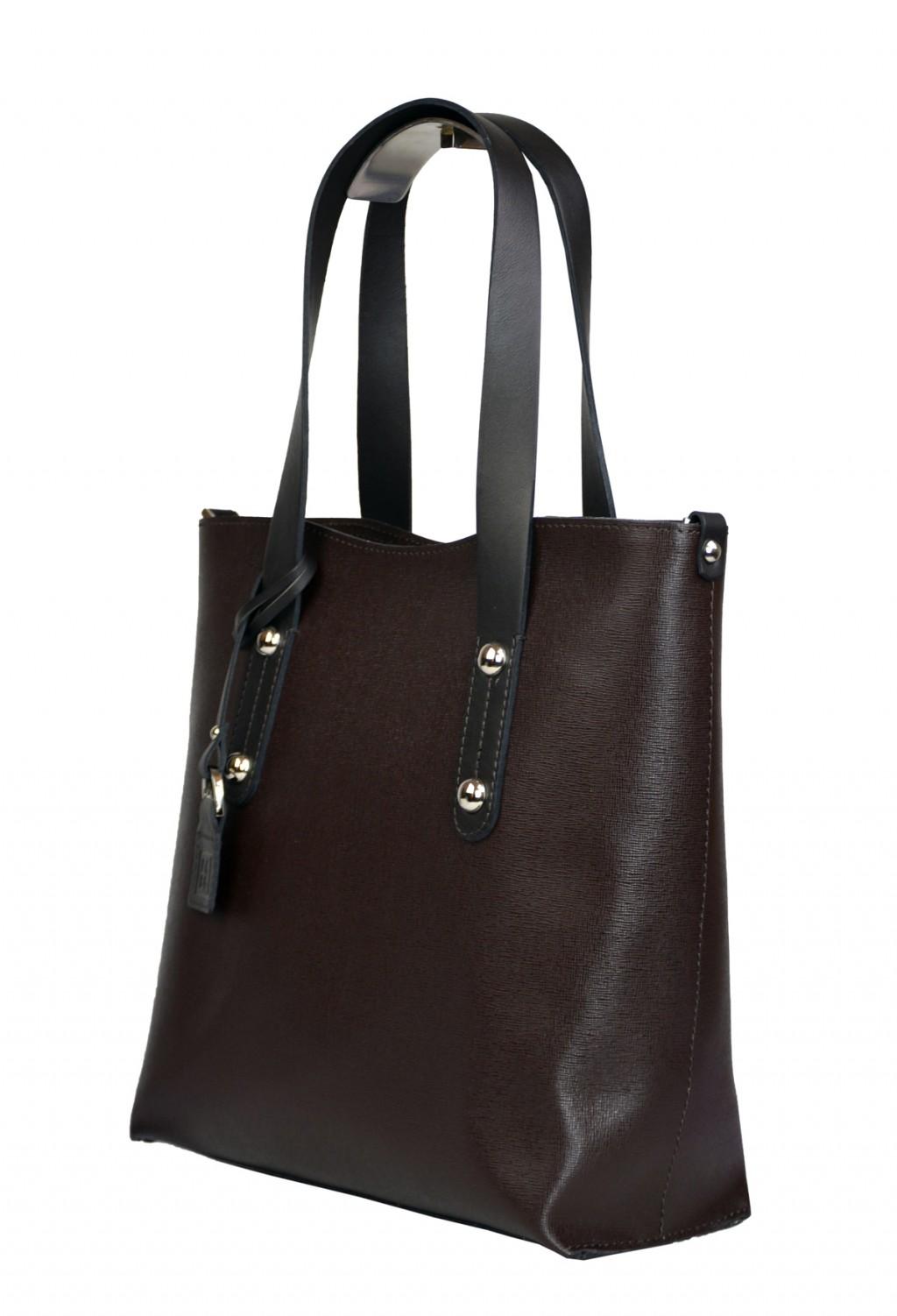 Dámská kožená kabelka FACEBAG IRENE - Tmavá hnědá