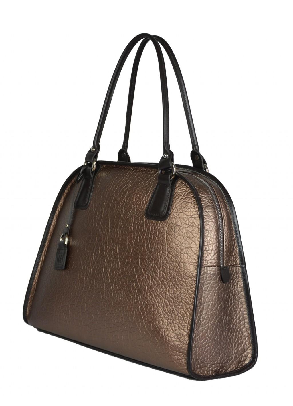 Dámská kožená kabelka FACEBAG RITA - Metalický bronz + tmavá hnědá