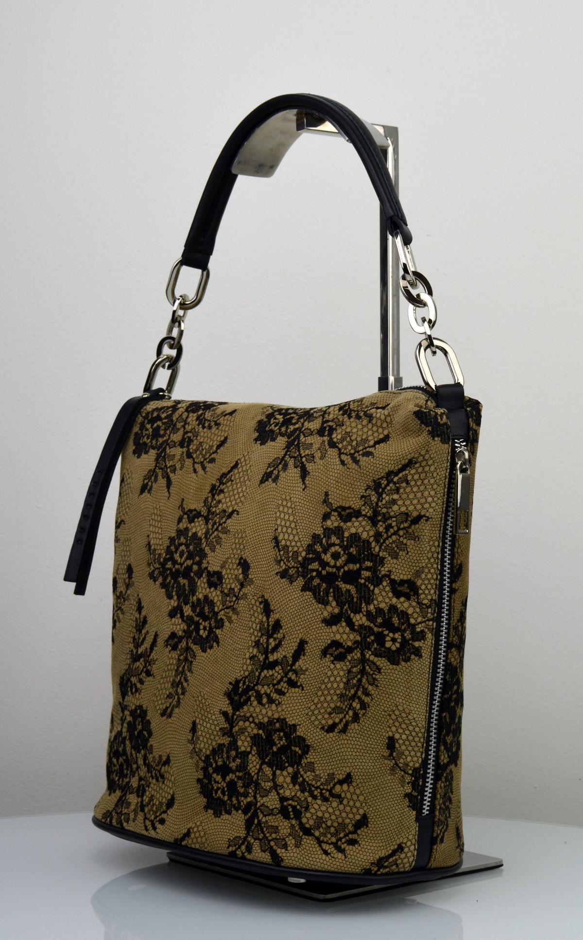Dámská kožená kabelka FACEBAG MOLY - Kombinace krajky a kůže - Béžová