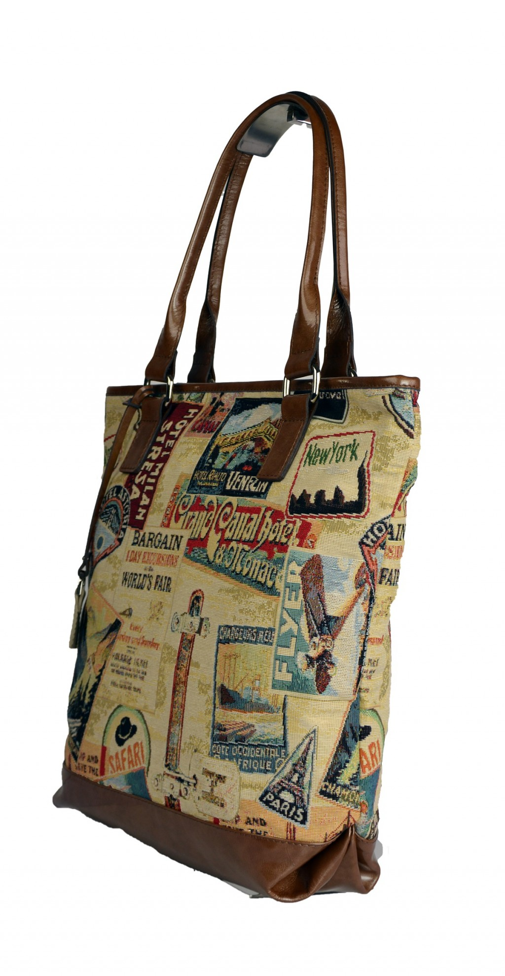 Dámská látková kabelka FACEBAG JANA - Safari žluto - hnědá látka + kůže