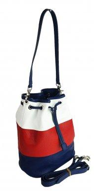 Dámská kožená kabelka FACEBAG LUISA - Červená+modrá+bílá *dolaro*