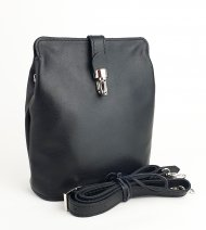 Dámská kožená kabelka FACEBAG ANNA S. - Černá hladká