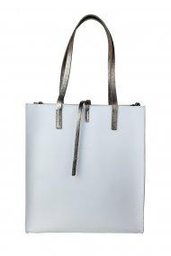Dámská kožená kabelka FACEBAG REIMS - Bílá + zlatá *ruga*