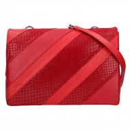 Dámská kožená kabelka FACEBAG MONACO - Červená + perfor lak