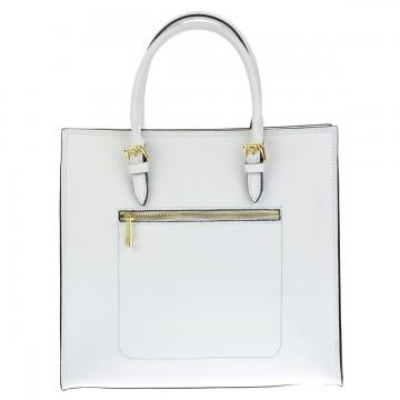 Dámská kožená kabelka GESA - Bílá