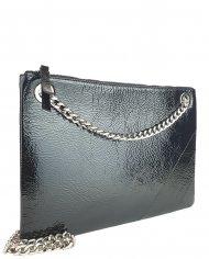 Elegantní dámská kožená kabelka FACEBAG ERIN - Černá mačkaný lak