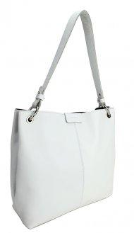 Dámská kožená kabelka FACEBAG LILLE - Bílá hladká
