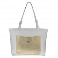 Dámská kožená kabelka FACEBAG SACCA - Bílá se zlatou kapsou