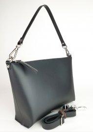 Dámská kožená kabelka FACEBAG RACHEL - Černá *hladká* + lak černá