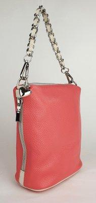 Dámská kožená kabelka FACEBAG EMMA I. - Růžová + béžová *dolaro*