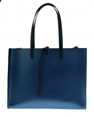 Dámská kožená kabelka FACEBAG CHERI - Metalická modrá