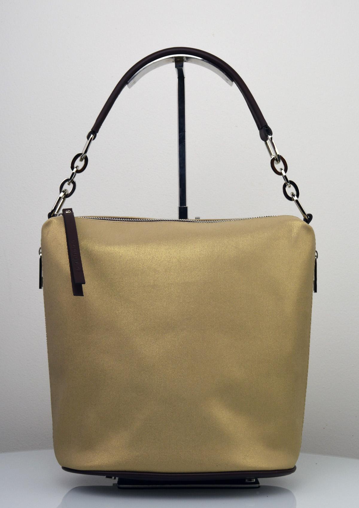 576b5a009 Dámská kožená kabelka FACEBAG MOLY - Kombinace látky a kůže - Zlatá ...