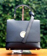 Dámská italská kožená kabelka 6882 - Černá