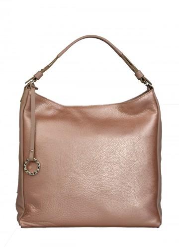 Dámská kožená kabelka FACEBAG  ELIA - Metal pudr