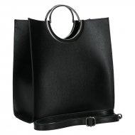 Luxusní dámská kožená kabelka FACEBAG ANGE 1 - Černá *safiano*