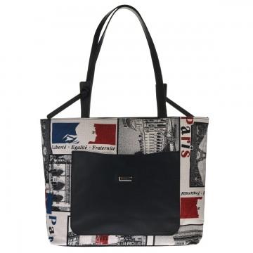 Dámská látková kabelka FACEBAG SACCA - PARIS látka + kůže