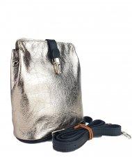 Dámská kožená kabelka FACEBAG ANNA - Zlatá + černá hladká