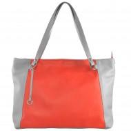Dámská kožená kabelka FACEBAG ROSA - Korálo + šedá