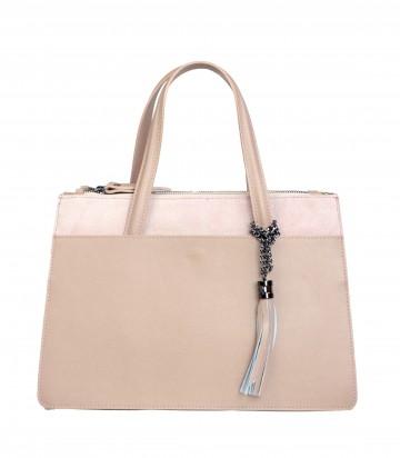 Italská kožená kabelka VALERIE - Pudrová