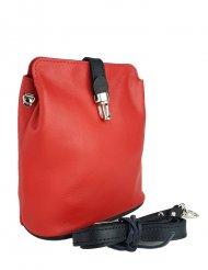 Dámská kožená kabelka FACEBAG ANNA S. - Červená + černá hladká