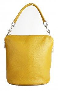 Kožená kabelka FACEBAG MOLY - Tmavá žlutá *dolaro*