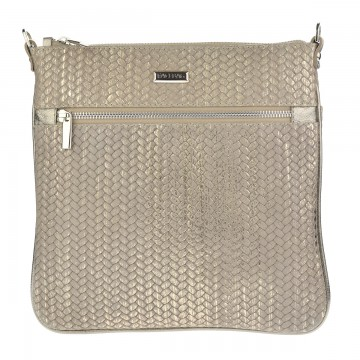 Dámská kožená kabelka FACEBAG VILMA - Pletené zlato
