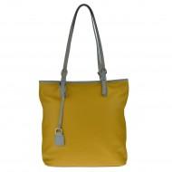 Dámská kožená kabelka FACEBAG VICTORIA - Žlutá + šedá