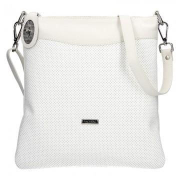 Dámská kožená kabelka FACEBAG SISA -Bílá perfor + smetanová