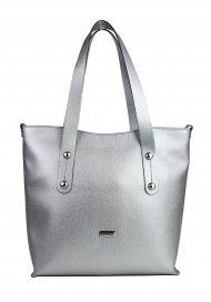 Dámská kožená kabelka FACEBAG IRENE - Metalická šedá *safiano*