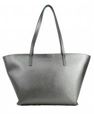 Dámská kožená kabelka FACEBAG NICE - stříbrná saffiano