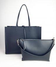 Dámská kožená kabelka FACEBAG 2v1 CHERI 1 - Černá s lakovanými boky