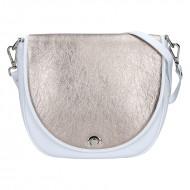 Dámská kožená kabelka FACEBAG LILI 1 - Bílá + zlatá