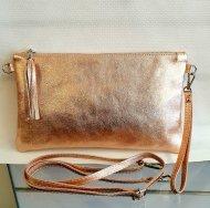 Dámská italská kožená kabelka 2817 - Metalická růžová