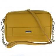 Dámská kožená kabelka FACEBAG NINA  - Tmavá žlutá