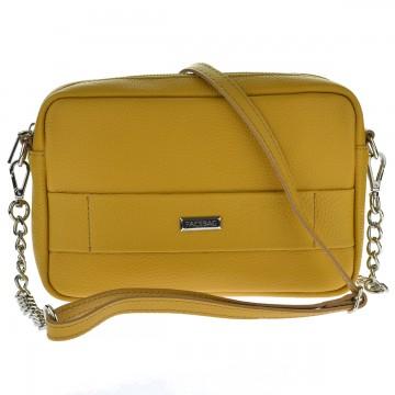 Dámská kožená kabelka FACEBAG CASSETTA - Tmavá žlutá