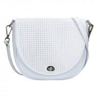 Dámská kožená kabelka FACEBAG LILI - Bílá s perforovanou klopnou