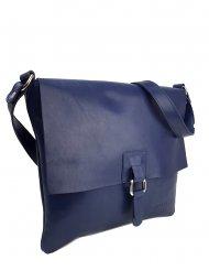 Dámská kožená kabelka FACEBAG LUCY - Tmavá modrá hladká