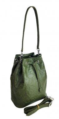 Dámská kožená kabelka FACEBAG LUISA - Tmavá zelená se vzorem