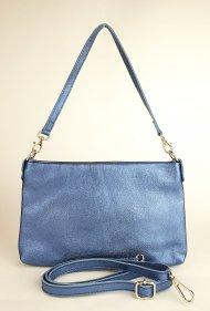 Dámská italská kožená kabelka 3118 - Metalická modrá hladká