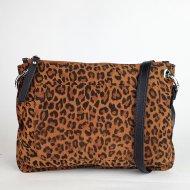 Dámská kožená kabelka FACEBAG CANNET - Hnědá s leopradím vzorem