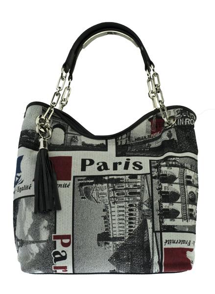 Dámská kabelka FACEBAG AGATA - kombinace látky a kůže PARIS