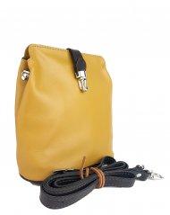 Dámská kožená kabelka FACEBAG ANNA - Tmavá žlutá + hnědá hladká
