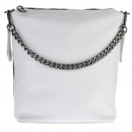 Dámská kožená kabelka FACEBAG EMMA II. - Bílá + černá
