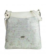 Dámská kožená kabelka FACEBAG SISA - Světlá mozaika + béžová