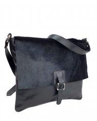 Dámská kožená kabelka FACEBAG LUCY - Černá hladká + srst