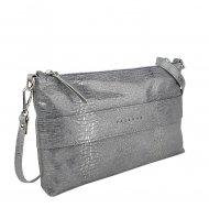 Dámská kožená kabelka FACEBAG MARY - Stříbrná had