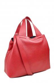 Dámská kožená kabelka FACEBAG SOFI - Metalická červená