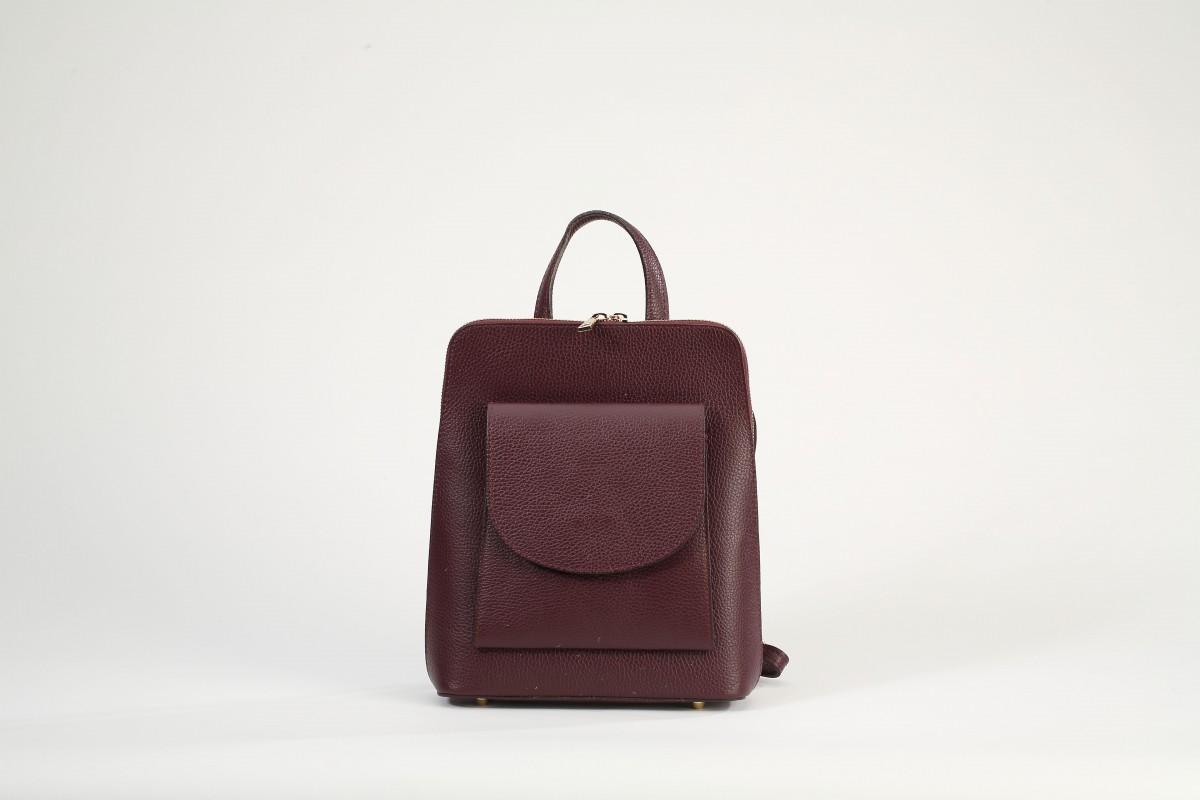 b78038fd37 Dámský italský kožený batoh ARON - Vínová